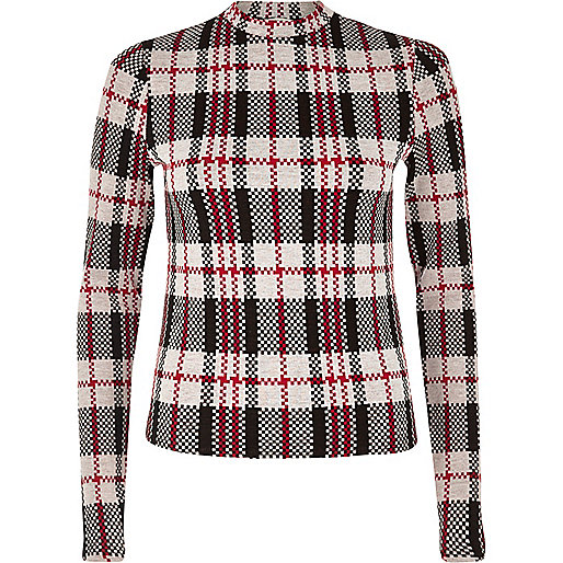 Red check turtleneck top