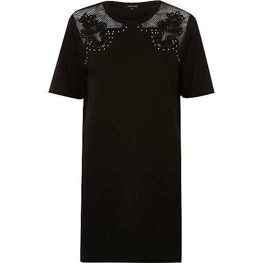 T-shirt oversize noir avec tulle clouté style western
