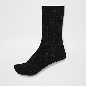 Chaussettes noires nervurées