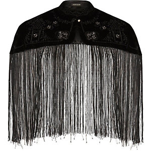 Black beaded tassel cape