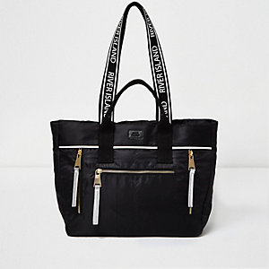 Black nylon zip tote bag