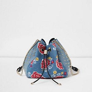 Blue denim floral embroidered duffle bag