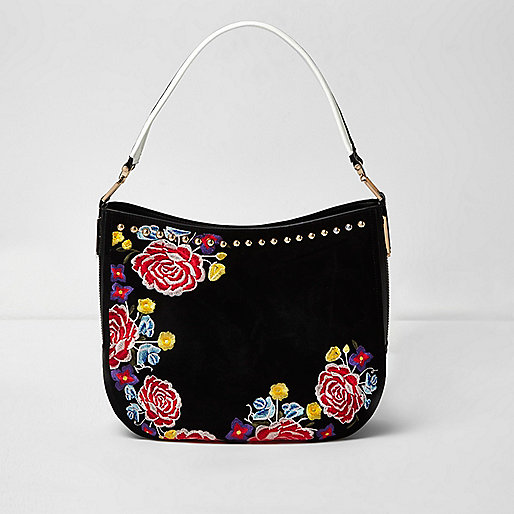 Black floral embroidered sloiuch bag