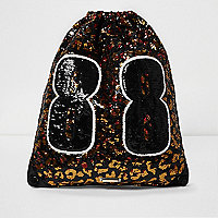 Black and gold sequin drawstring bag