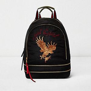 Sac à dos noir motif aigle brodé