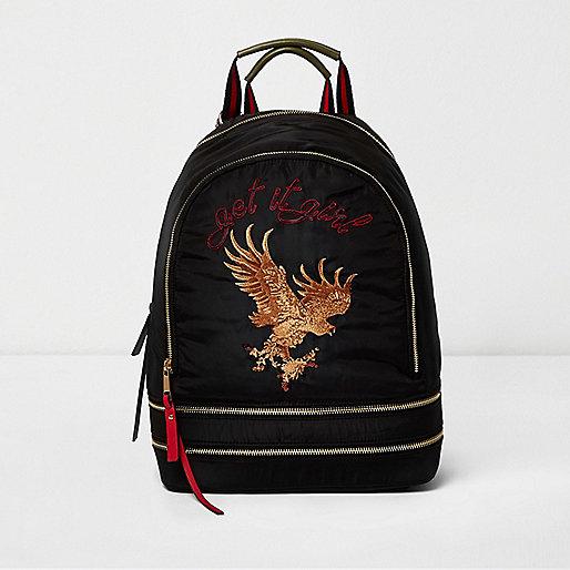 Black eagle embroidered backpack