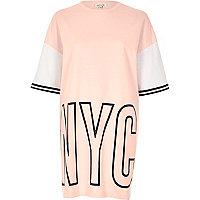 Pink NYC print oversized sweat T-shirt