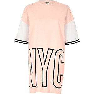 Pink NYC print oversized sweat T-shirt