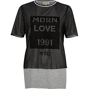 Graues Boyfriend-T-Shirt aus Mesh