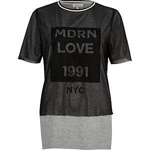Grey layered mesh boyfriend T-shirt