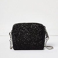 Black glitter mini chain bag