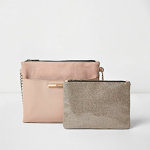 Pink cross body bag and sparkly pouchette