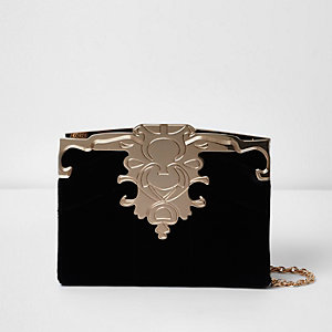 Black and gold tone patchwork velvet clutch