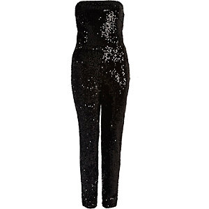 Black sequin bandeau jumpsuit
