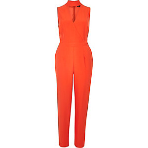 Red choker jumpsuit
