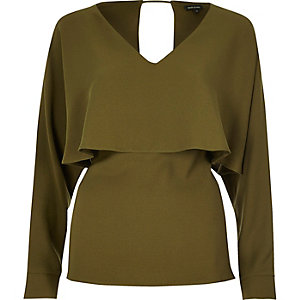 Khaki angel cape top