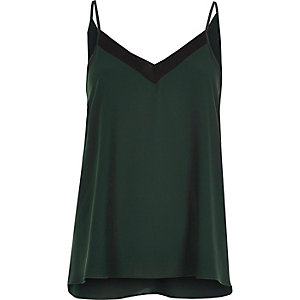 Green ribbed insert cami