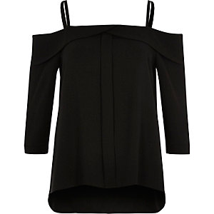 Black foldover bardot top