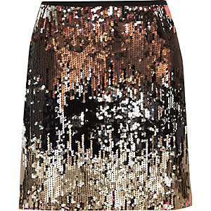 Silver ombré sequin mini skirt