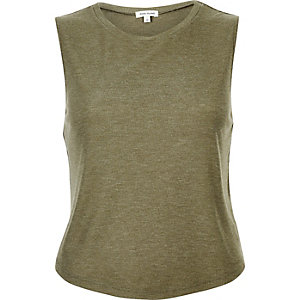 Khaki green scoop neck tank top
