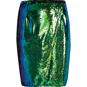 RI Plus – Jadegrüner, paillettenverzierter Bleistiftrock