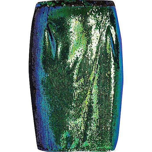 RI Plus emerald green sequin pencil skirt