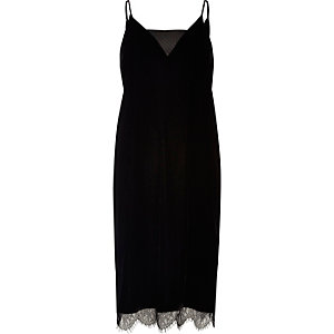 Black velvet and lace slip dress