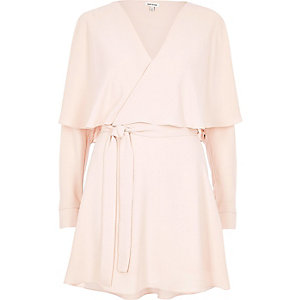 Blush pink wrap cape dress