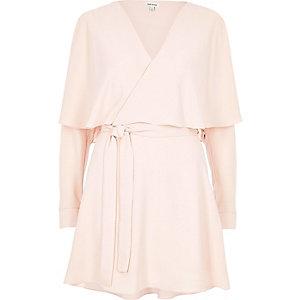 Robe cape cache-cœur rose pâle