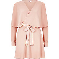 Pink long sleeve frill tea dress