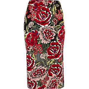 Red floral print pencil skirt