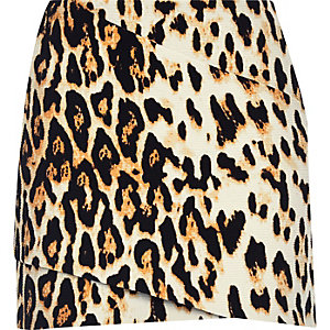 Brown leopard print wrap mini skirt