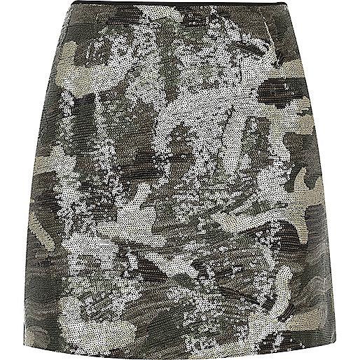 Khaki camo print sequin mini skirt