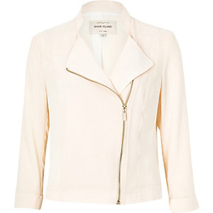 Cream sheer biker jacket