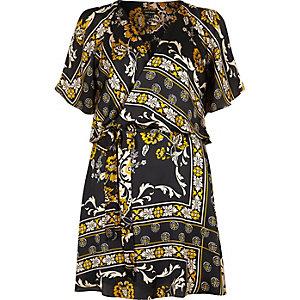 Black print cold shoulder tea dress