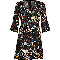 Black print flared sleeve dress