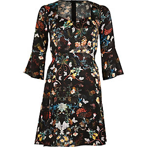 Black print flared sleeve dress