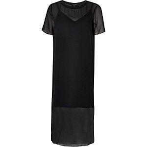 Black mesh T-shirt midi dress