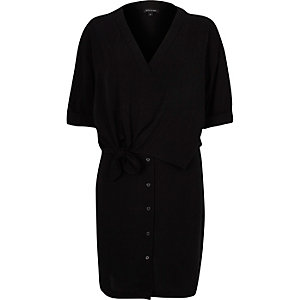 Black relaxed shirt dress