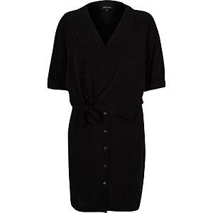 Black relaxed shirt dress