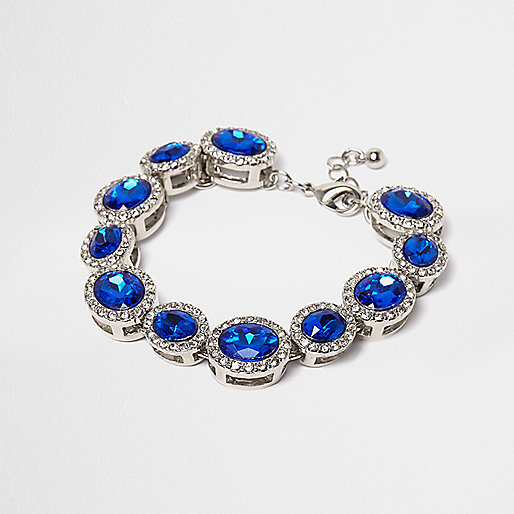 Silver tone sapphire gem bracelet
