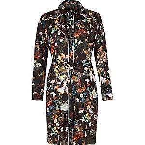 Robe chemise noire à fleurs