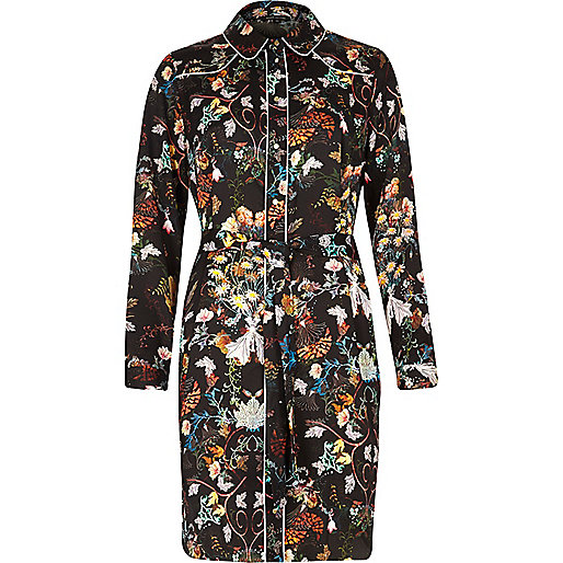 Black floral print shirt dress