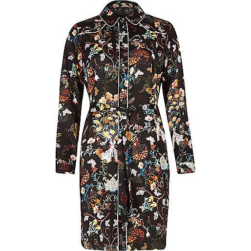 Schwarzes Blusenkleid mit Blumenprint