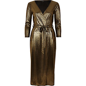 Gold plunge wrap dress