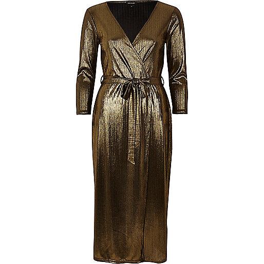 Gold plunge wrap dress