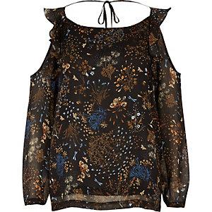 RI Plus brown print frill cold shoulder top