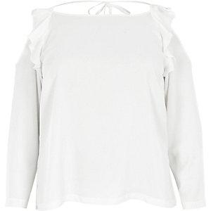 Plus cream frill cold shoulder top