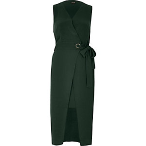 Dark green waisted wrap dress