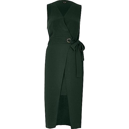 Dark green waisted wrap dress
